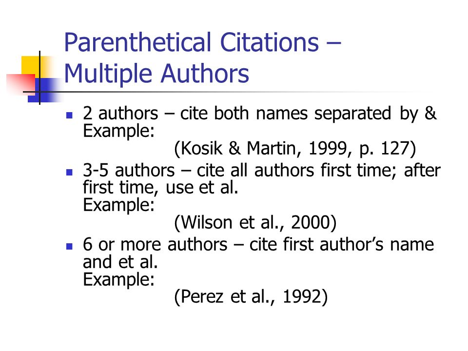 Parenthetical Citations – Multiple Authors