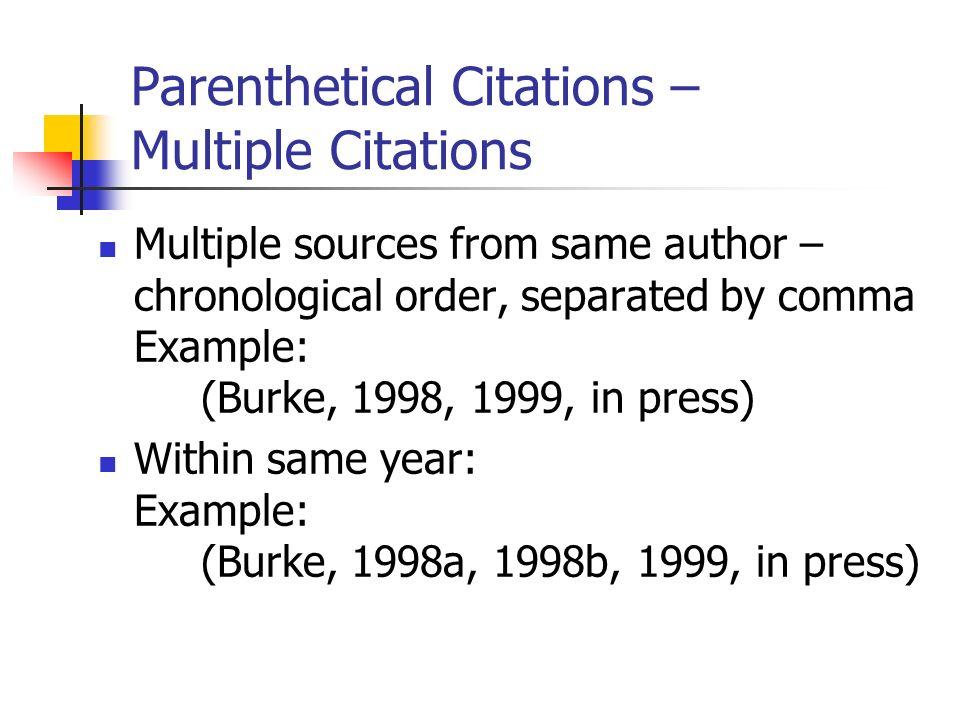 Parenthetical Citations – Multiple Citations
