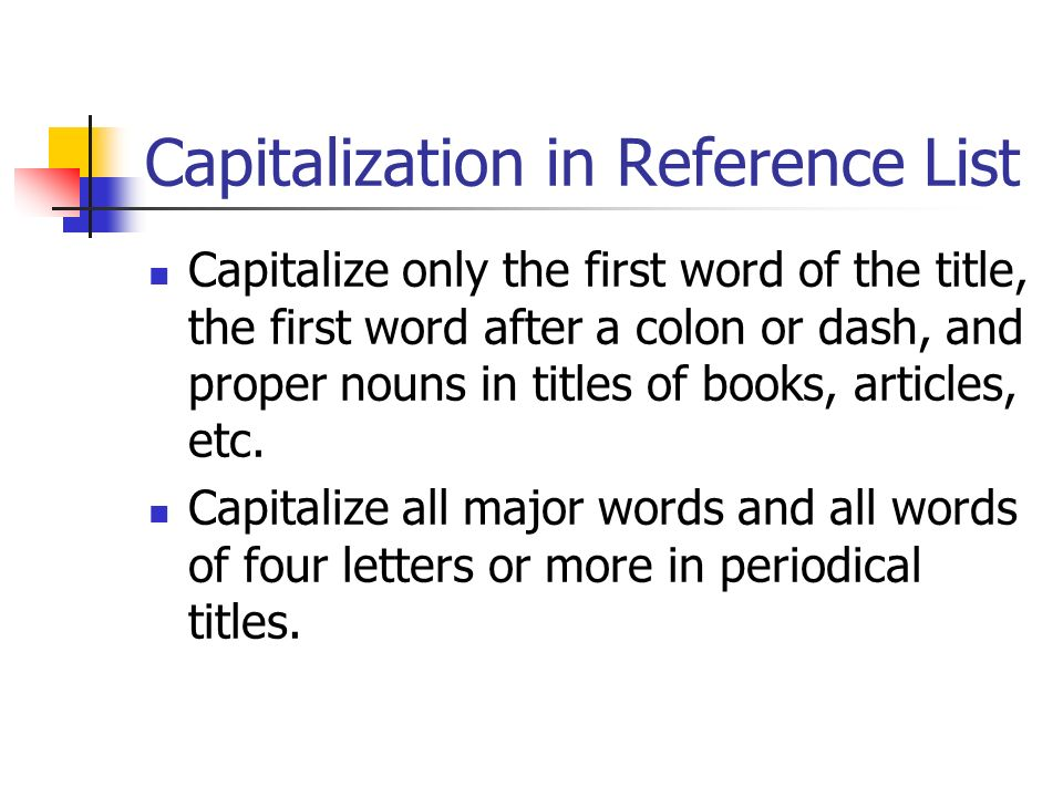 Capitalization in Reference List