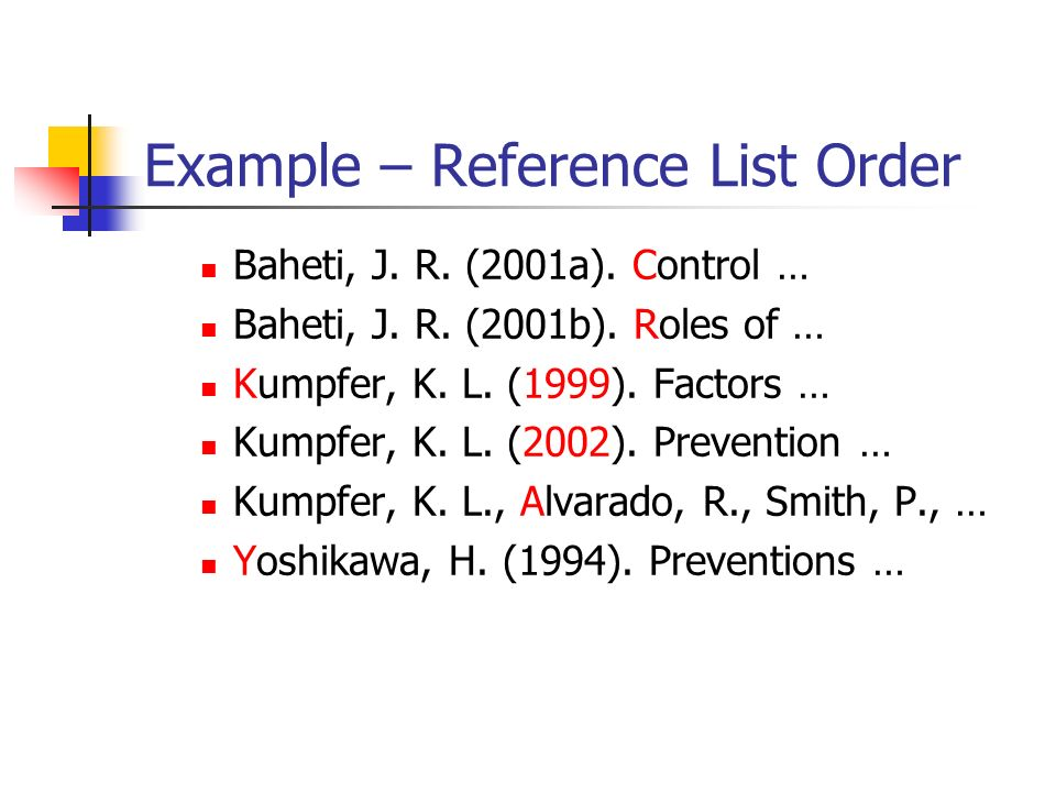 Example – Reference List Order