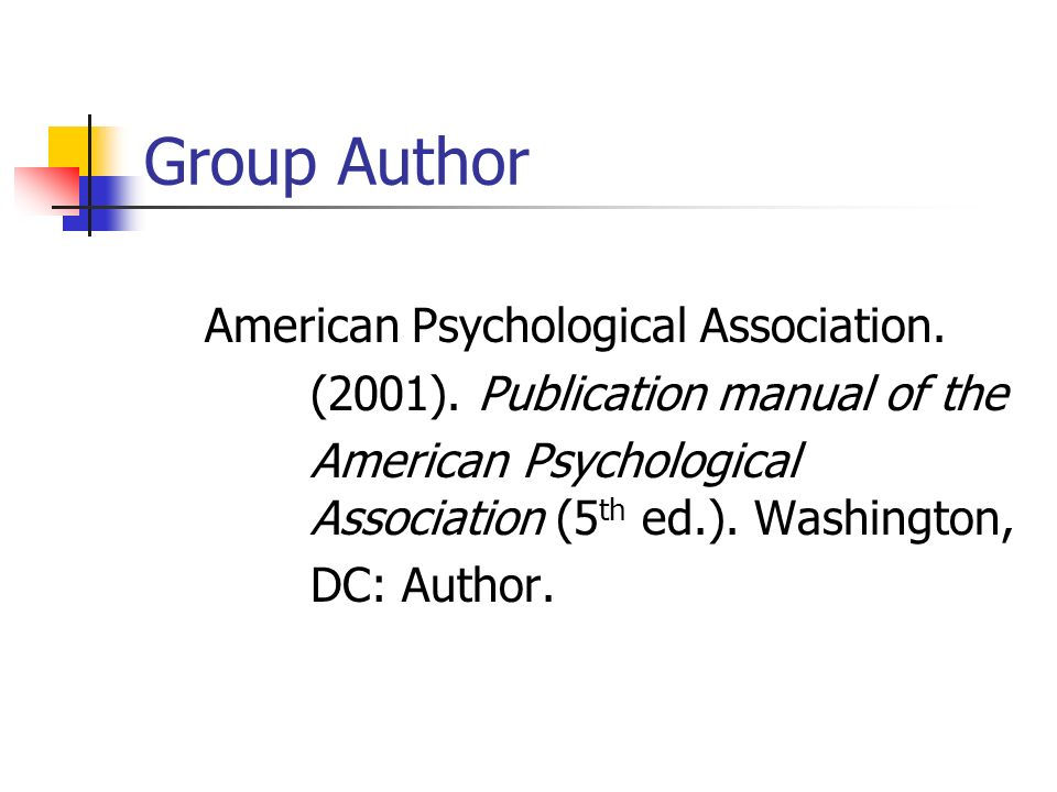 Group Author American Psychological Association.