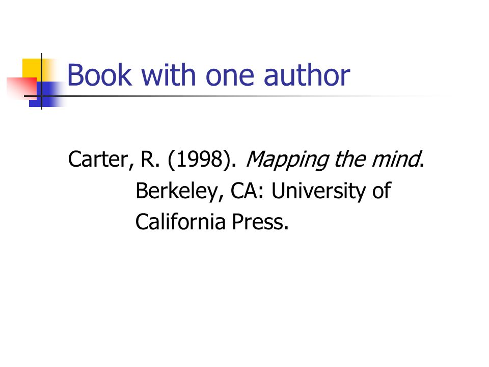 Book with one author Carter, R. (1998). Mapping the mind.