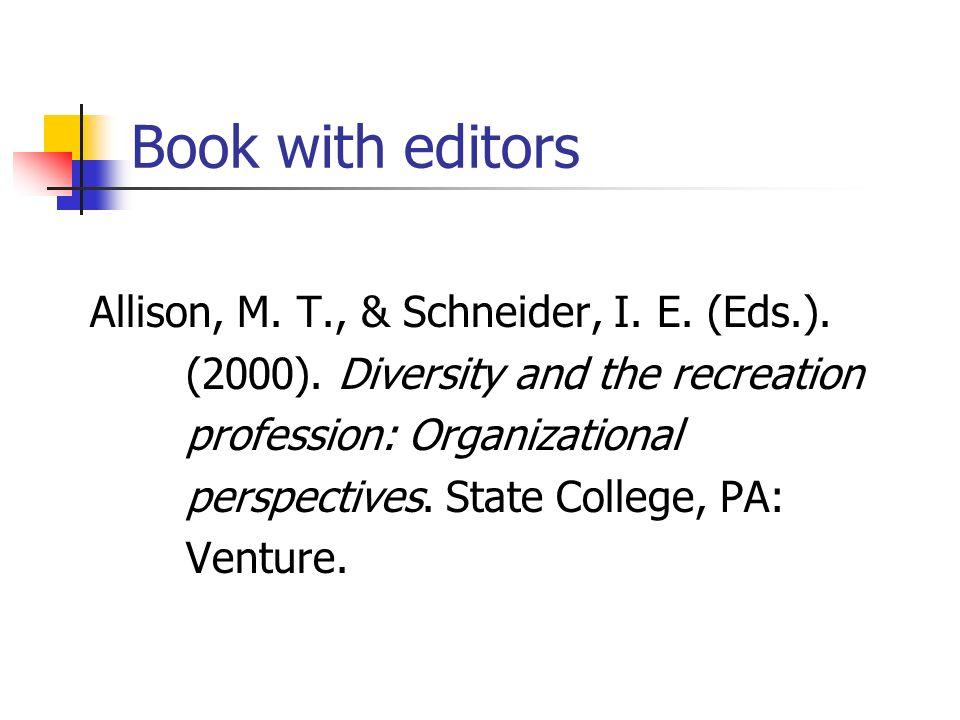 Book with editors Allison, M. T., & Schneider, I. E. (Eds.).