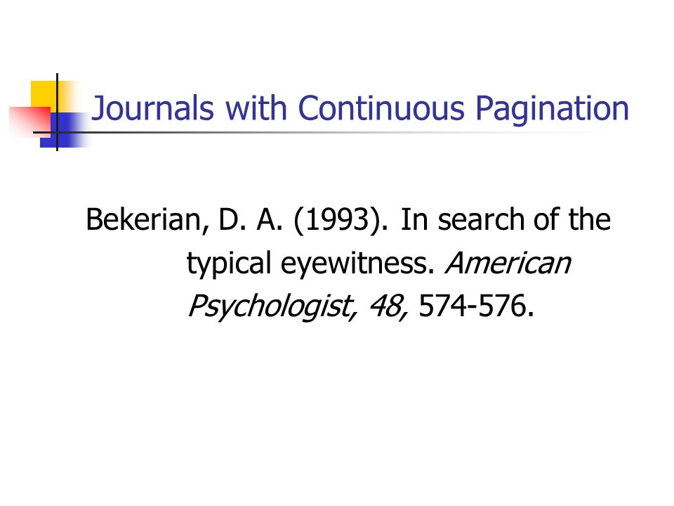 Journals with Continuous Pagination