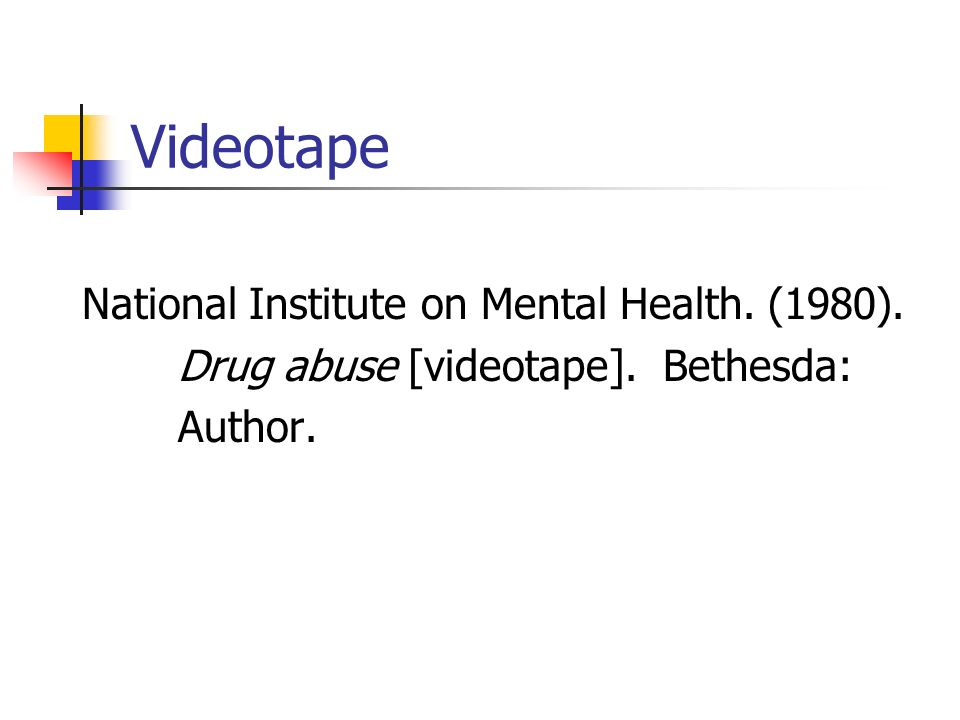 Videotape National Institute on Mental Health. (1980).