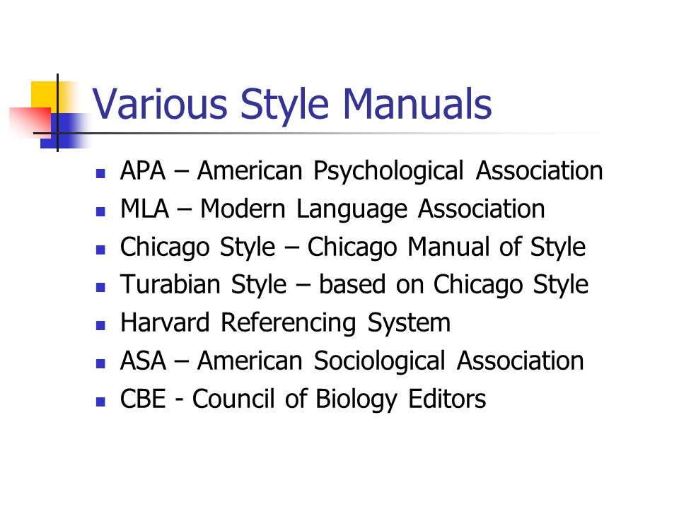 Various Style Manuals APA – American Psychological Association