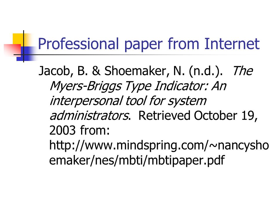 Professional paper from Internet