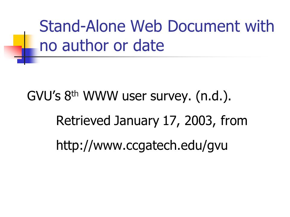 Stand-Alone Web Document with no author or date
