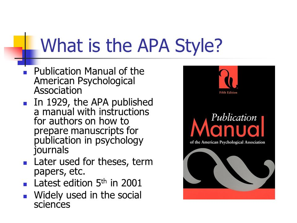 What is the APA Style Publication Manual of the American Psychological Association.