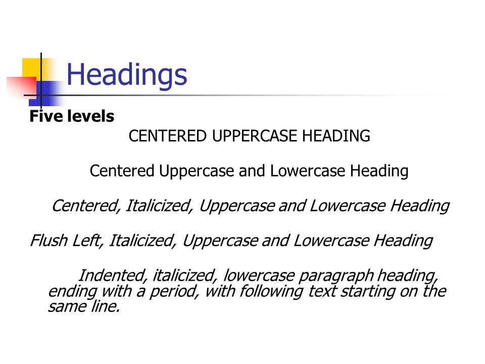 Headings Five levels CENTERED UPPERCASE HEADING