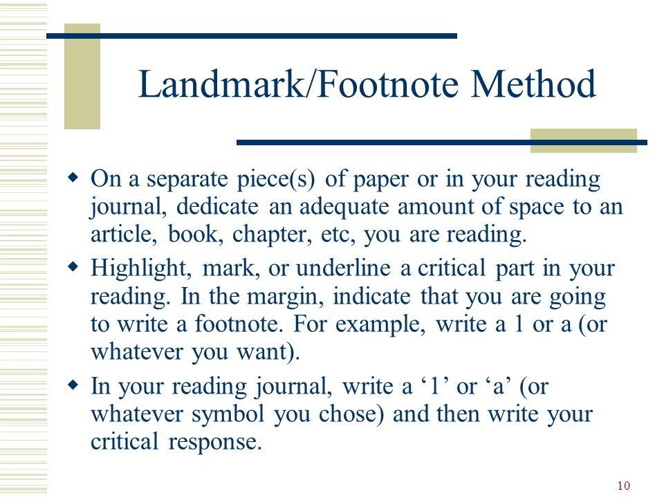 Landmark/Footnote Method