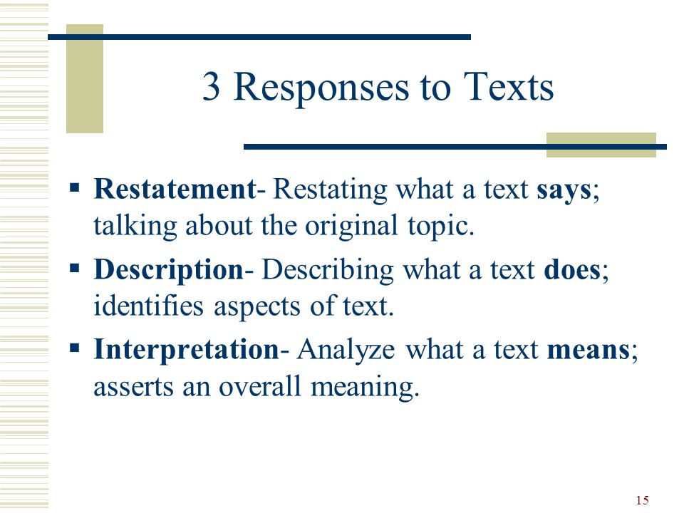 3 Responses to Texts Restatement- Restating what a text says; talking about the original topic.