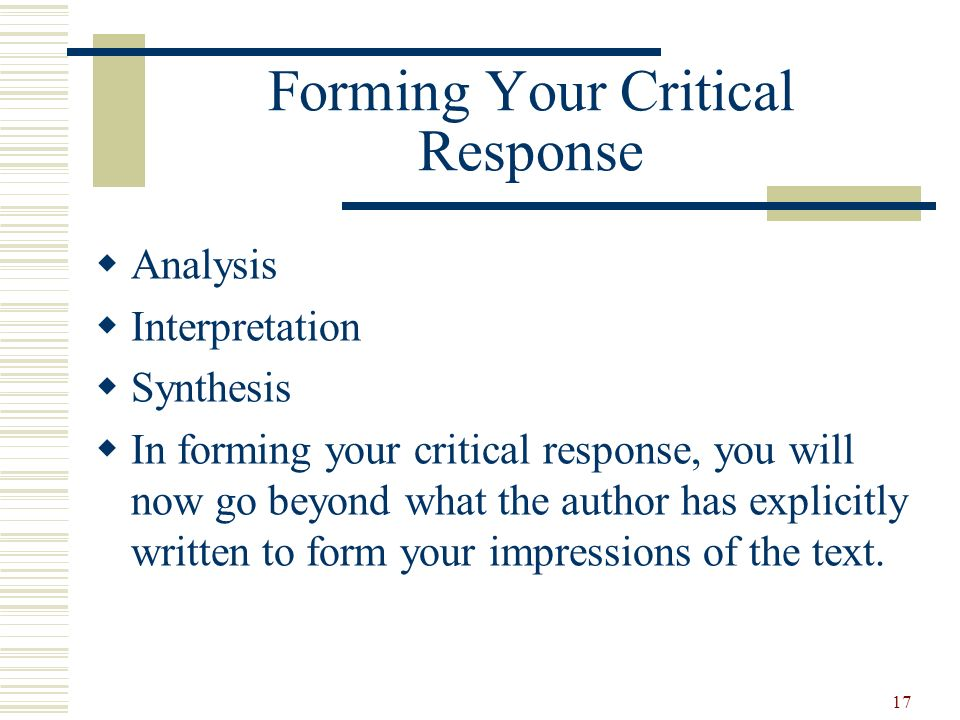 Forming Your Critical Response