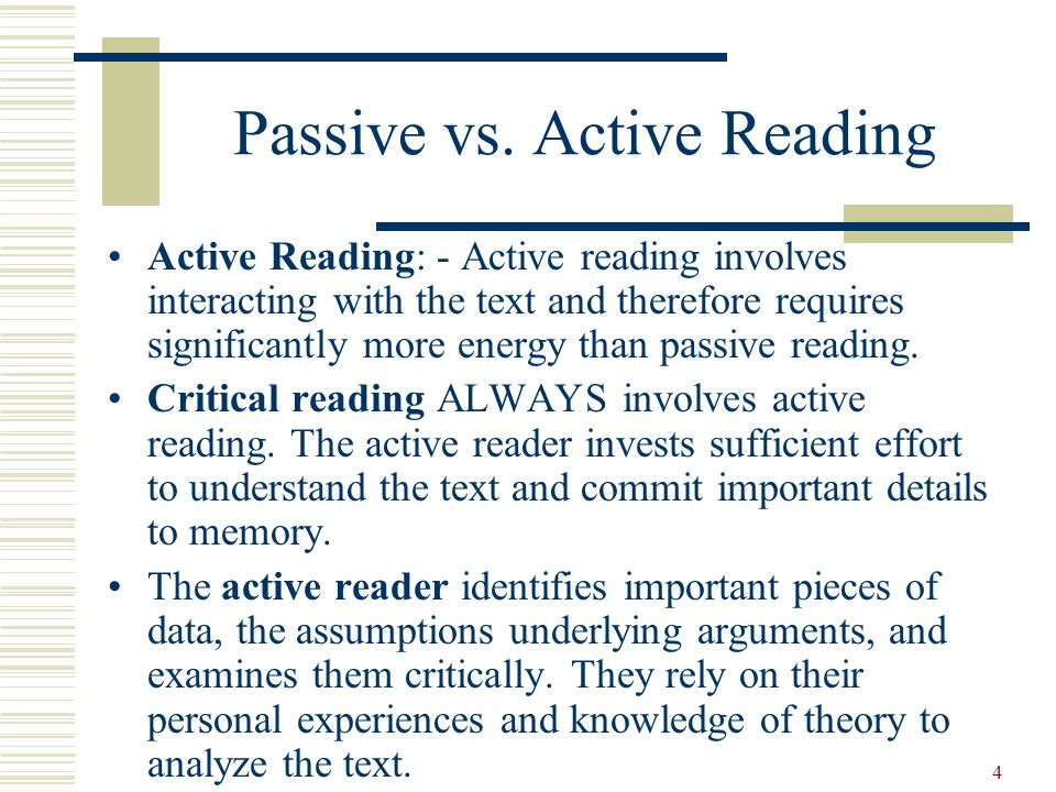 Passive vs. Active Reading