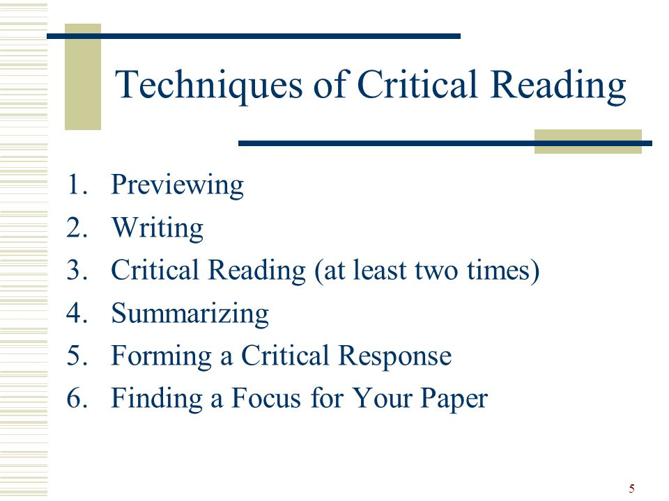 Techniques of Critical Reading