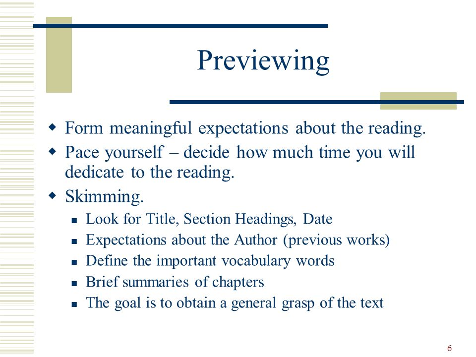 Previewing Form meaningful expectations about the reading.
