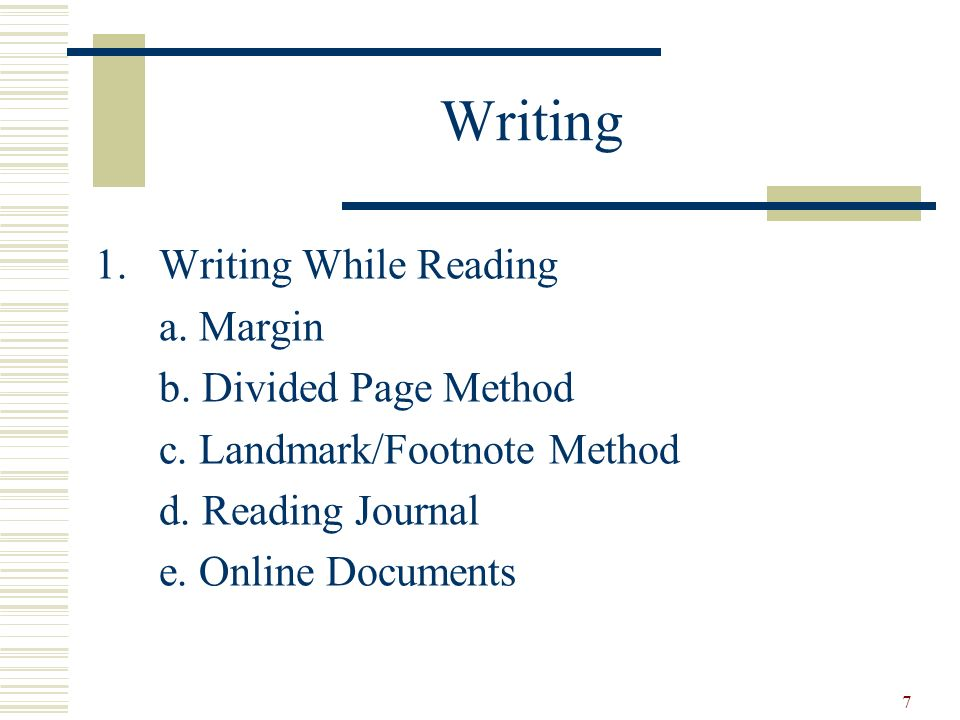 Writing Writing While Reading a. Margin b. Divided Page Method