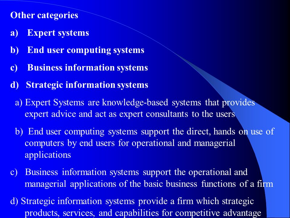 Other categories Expert systems. End user computing systems. Business information systems. d) Strategic information systems.