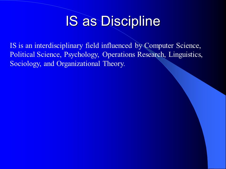 IS as Discipline
