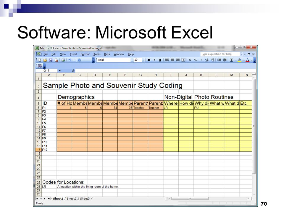 Software: Microsoft Excel