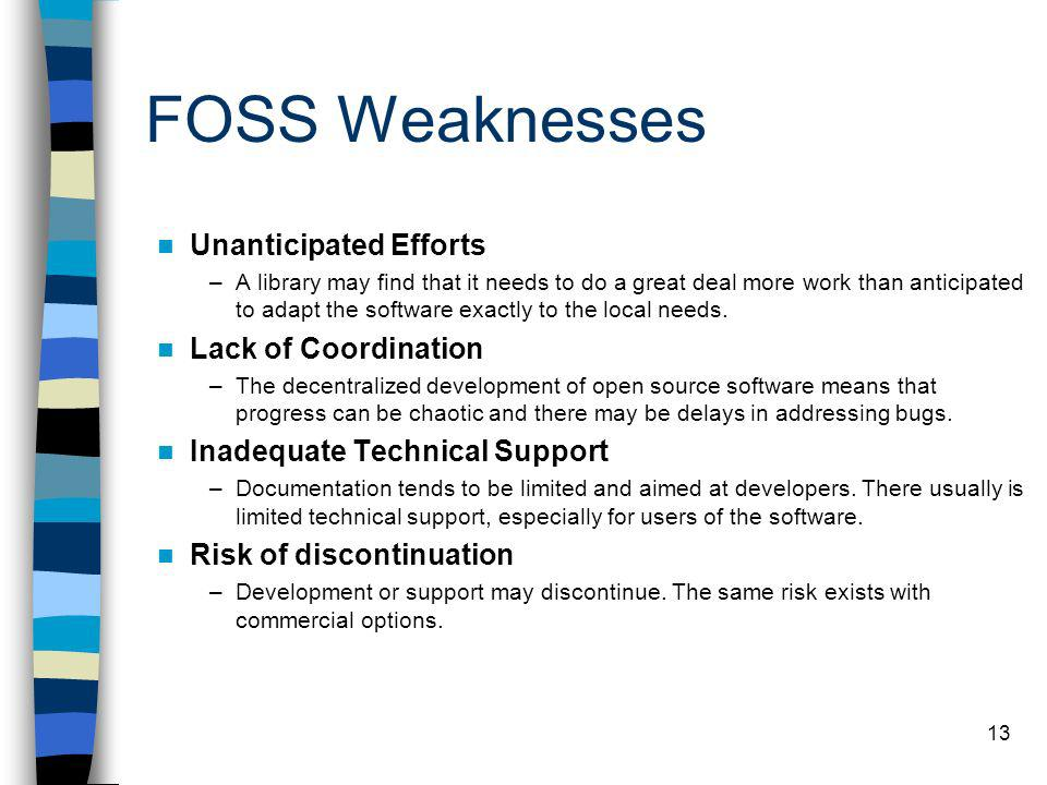 FOSS Weaknesses Unanticipated Efforts Lack of Coordination