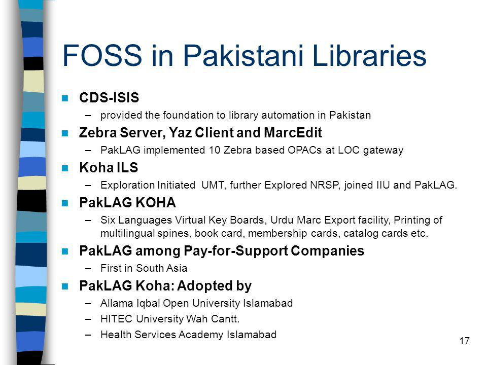 FOSS in Pakistani Libraries