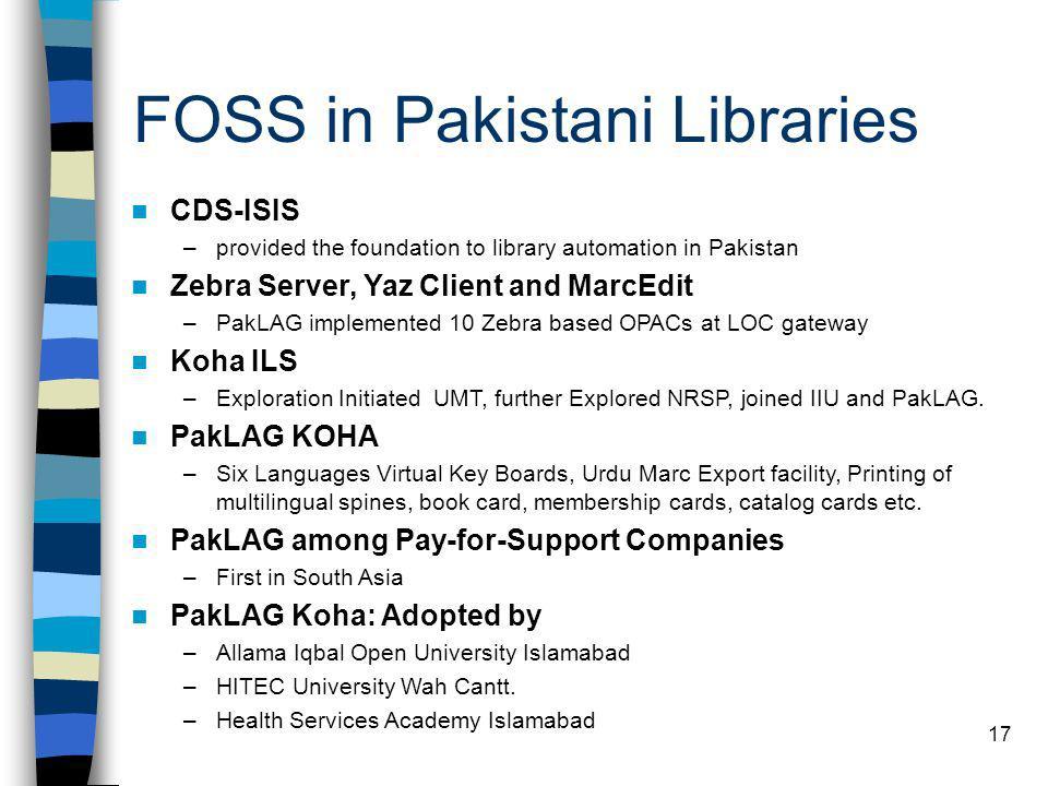 FOSS in Pakistani Libraries