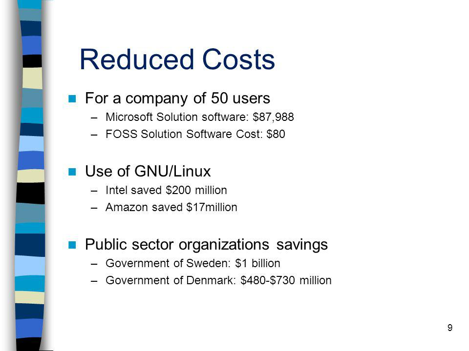 Reduced Costs For a company of 50 users Use of GNU/Linux
