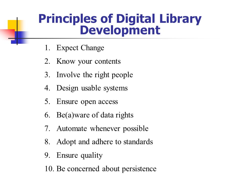 Principles of Digital Library Development