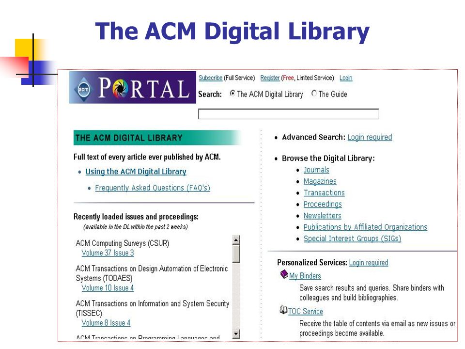 The ACM Digital Library