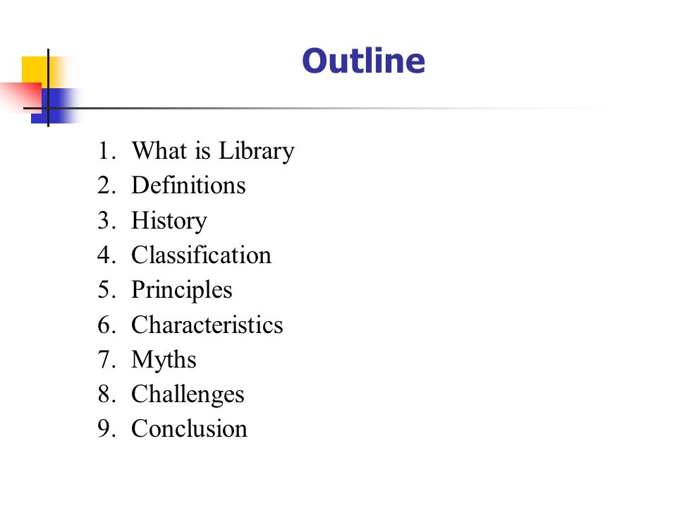 Outline What is Library Definitions History Classification Principles