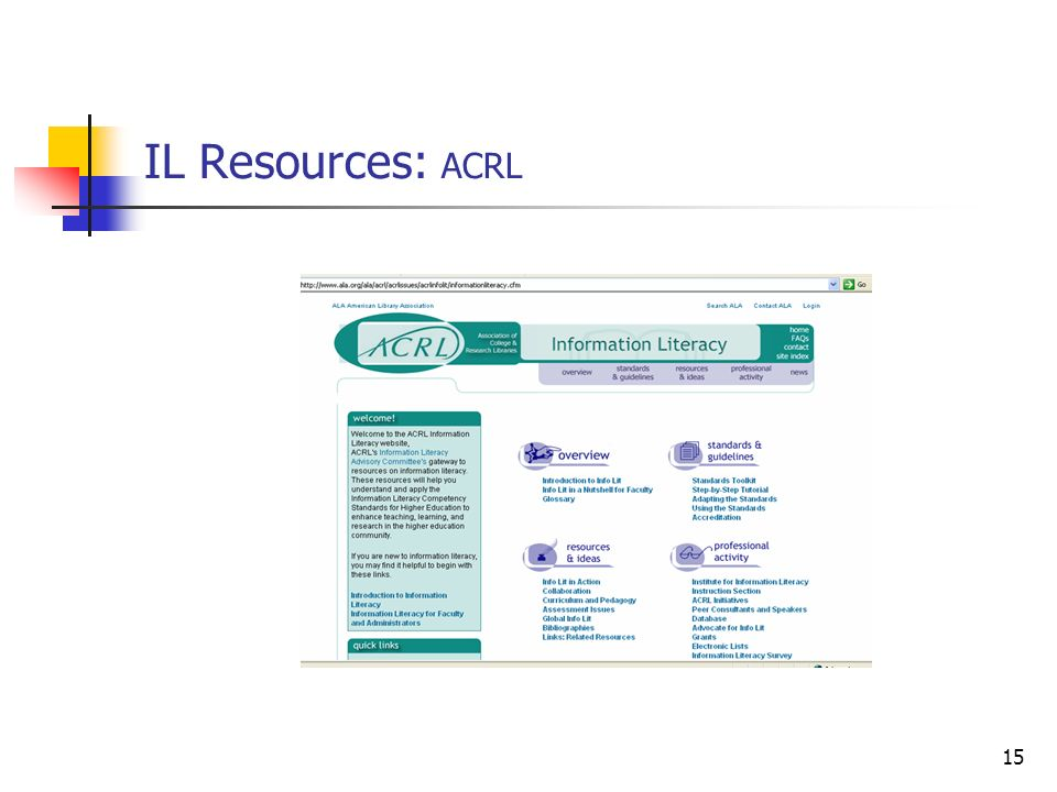 IL Resources: ACRL