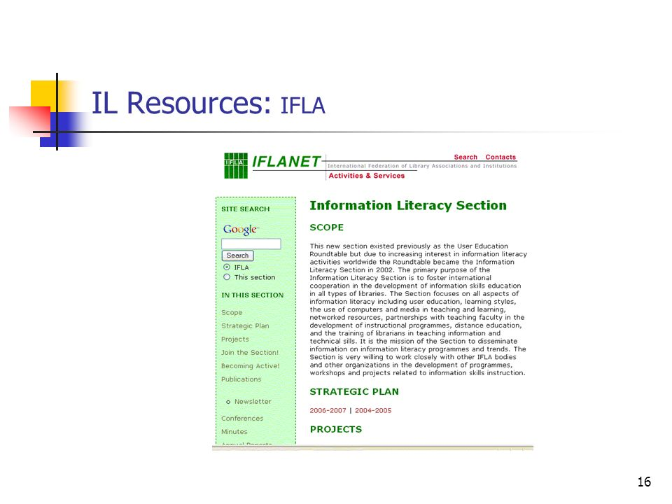 IL Resources: IFLA
