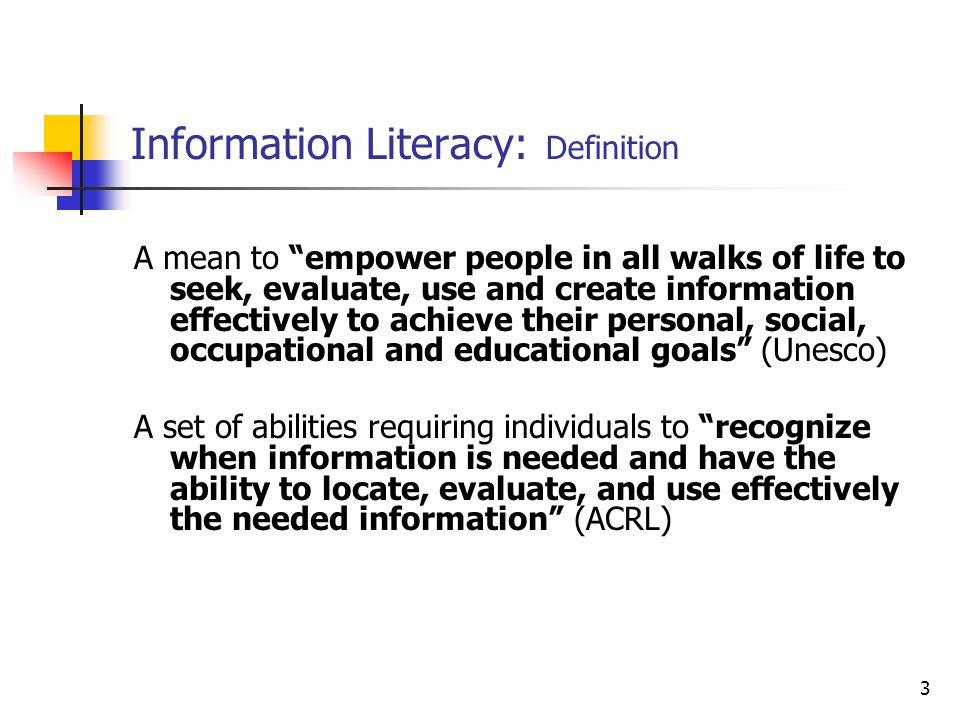 Information Literacy: Definition