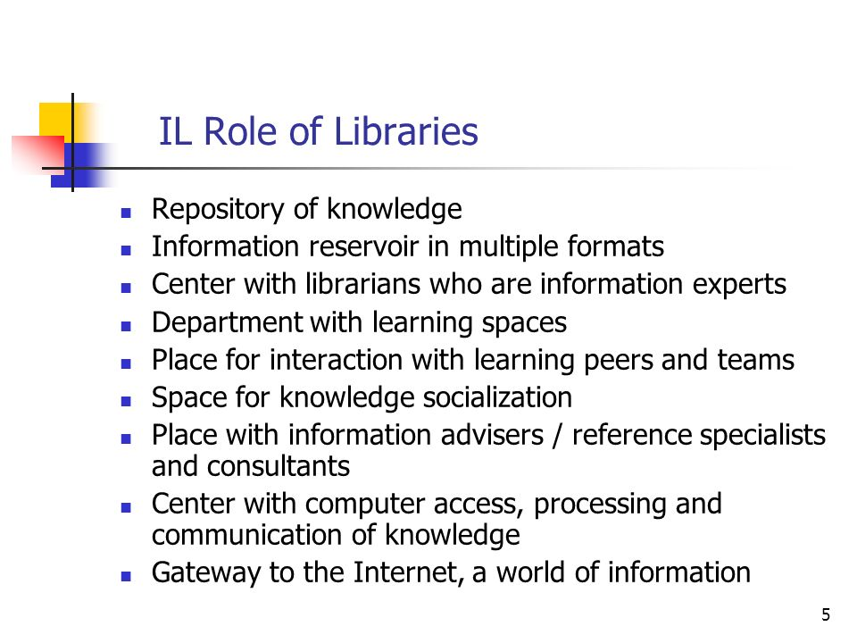 IL Role of Libraries Repository of knowledge