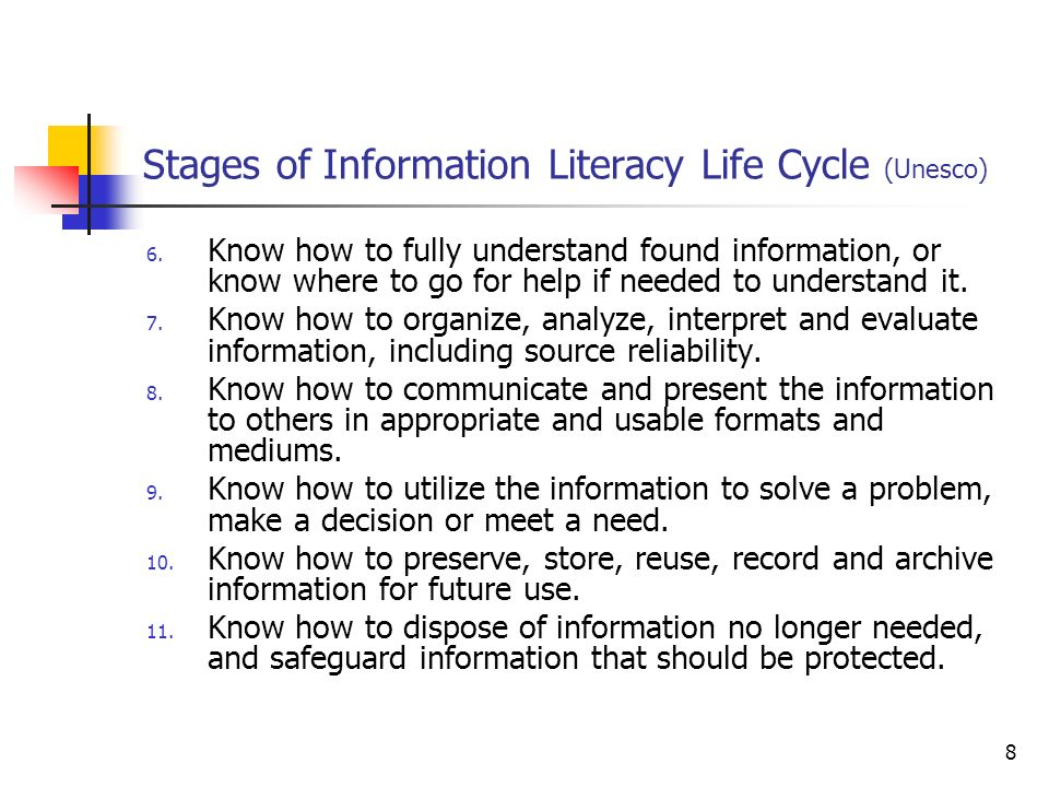 Stages of Information Literacy Life Cycle (Unesco)