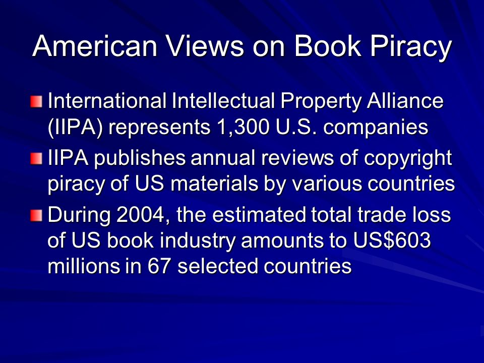 American Views on Book Piracy
