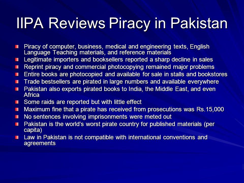 IIPA Reviews Piracy in Pakistan