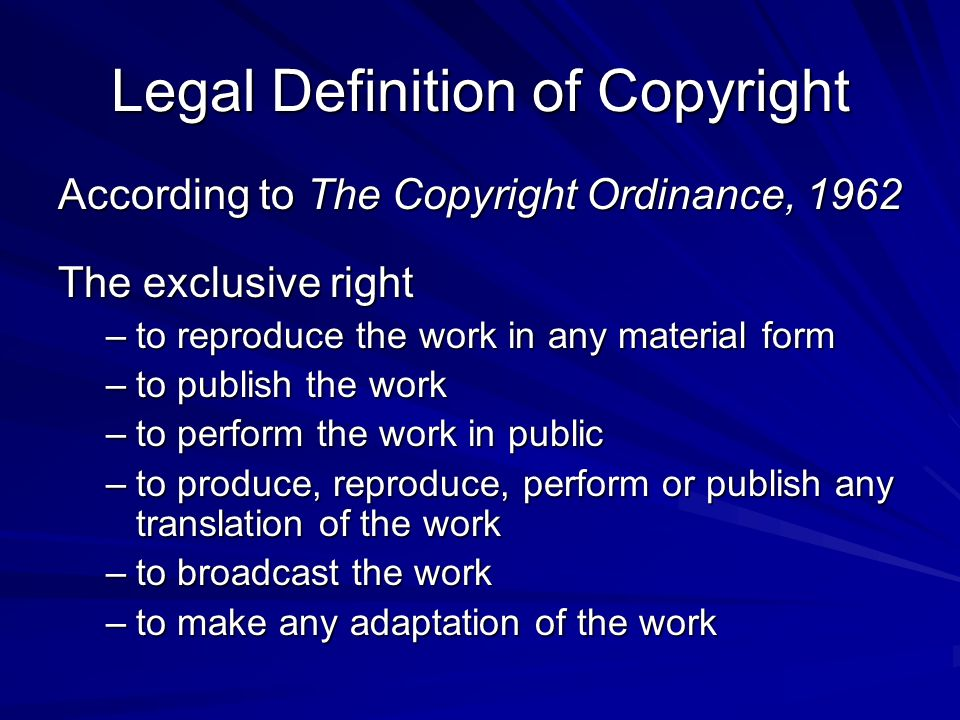 Legal Definition of Copyright