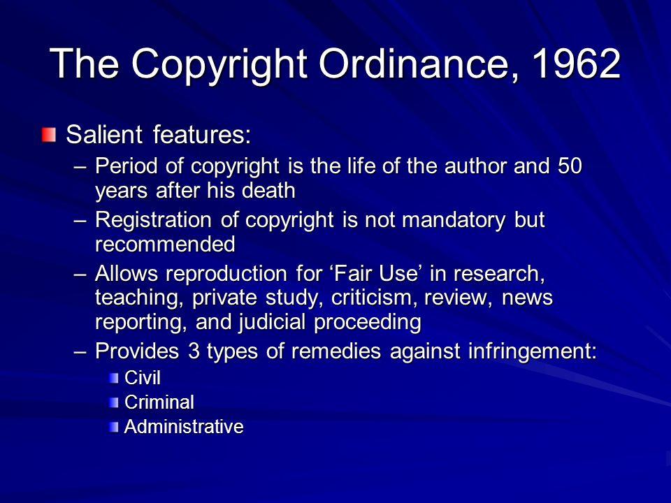 The Copyright Ordinance, 1962
