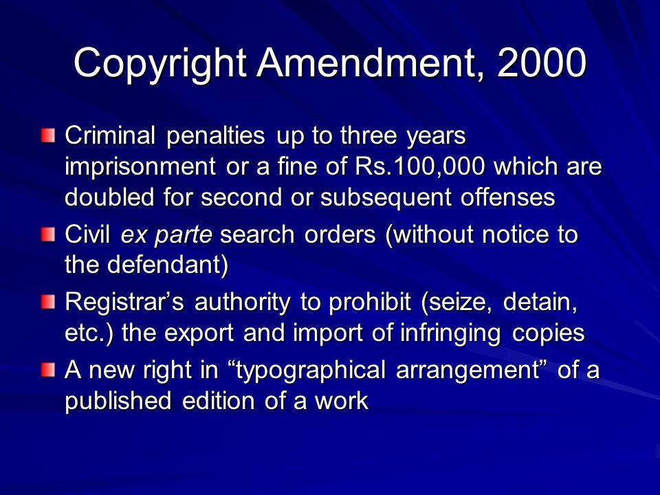 Copyright Amendment, 2000