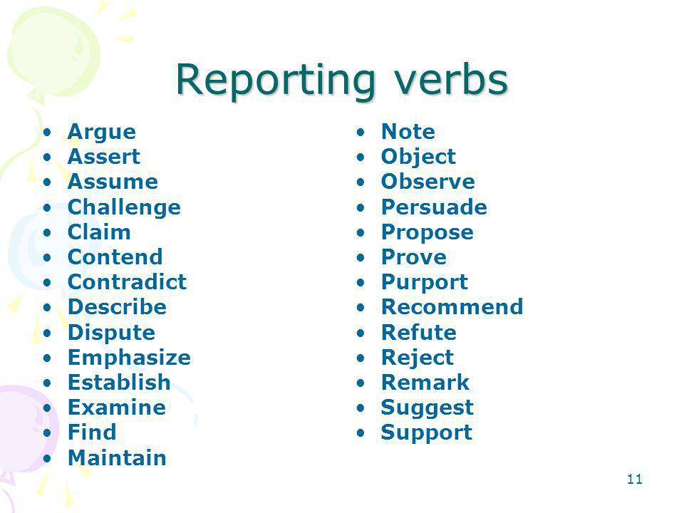 Reporting verbs Argue Assert Assume Challenge Claim Contend Contradict