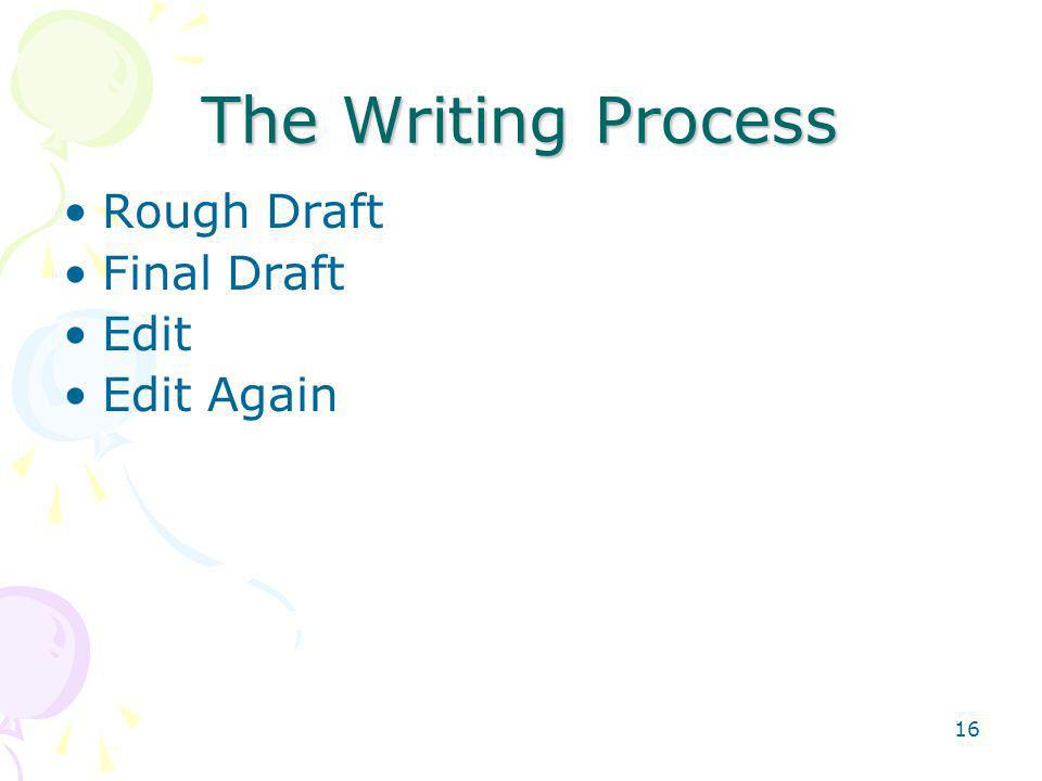 The Writing Process Rough Draft Final Draft Edit Edit Again