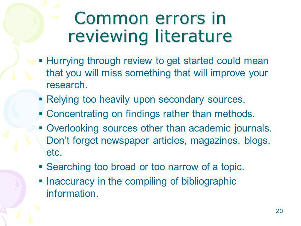 Common errors in reviewing literature