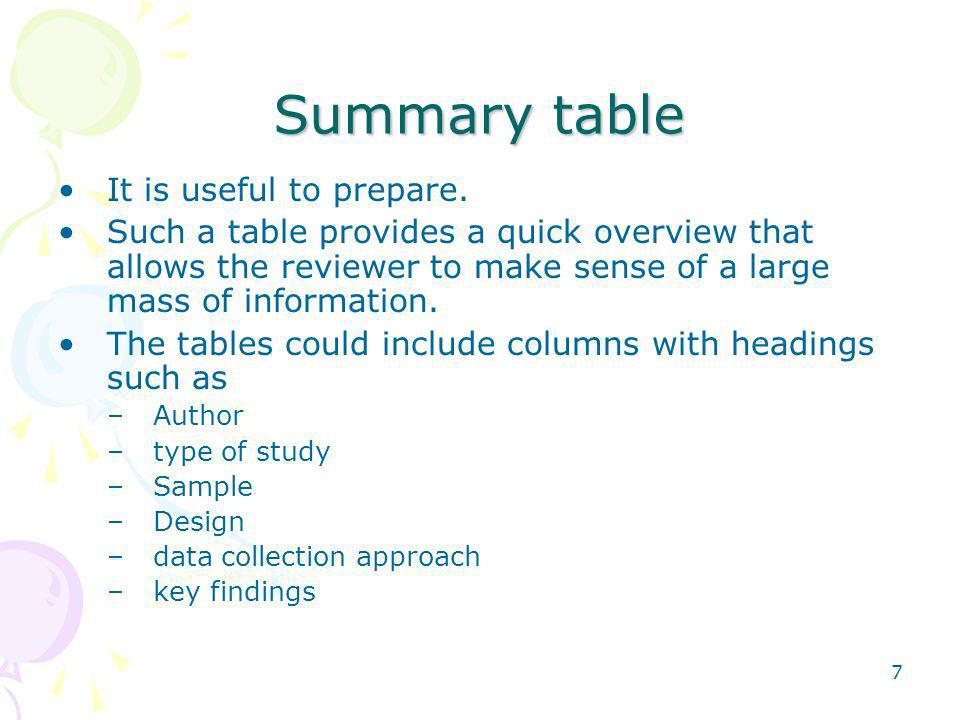 Summary table It is useful to prepare.