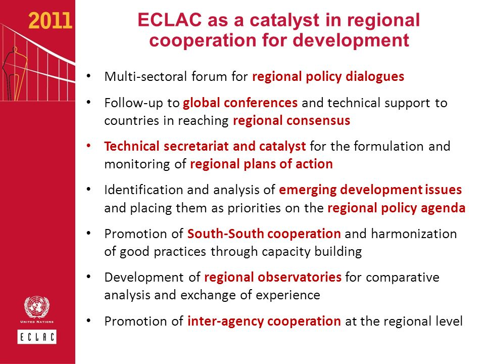 ECLAC as a catalyst in regional cooperation for development
