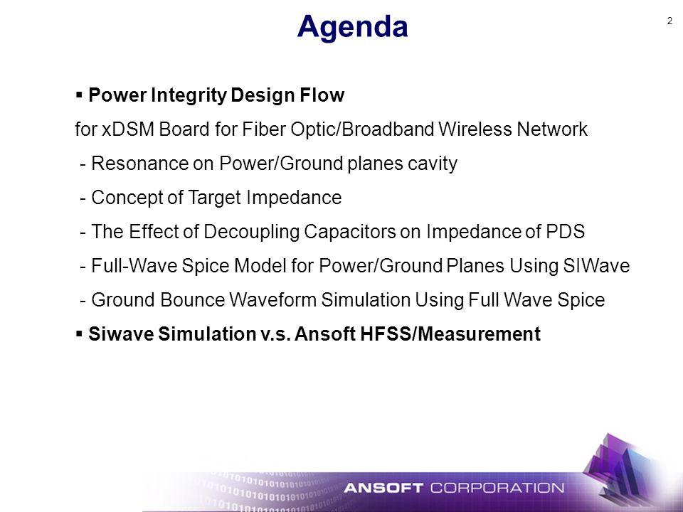 Agenda Power Integrity Design Flow