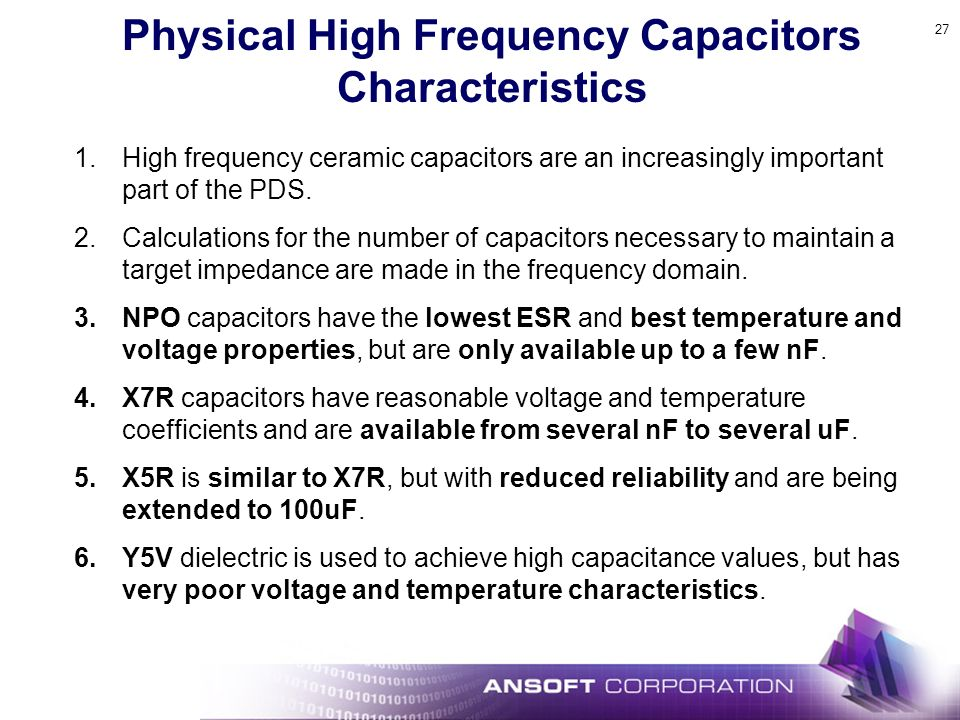 Physical High Frequency Capacitors Characteristics