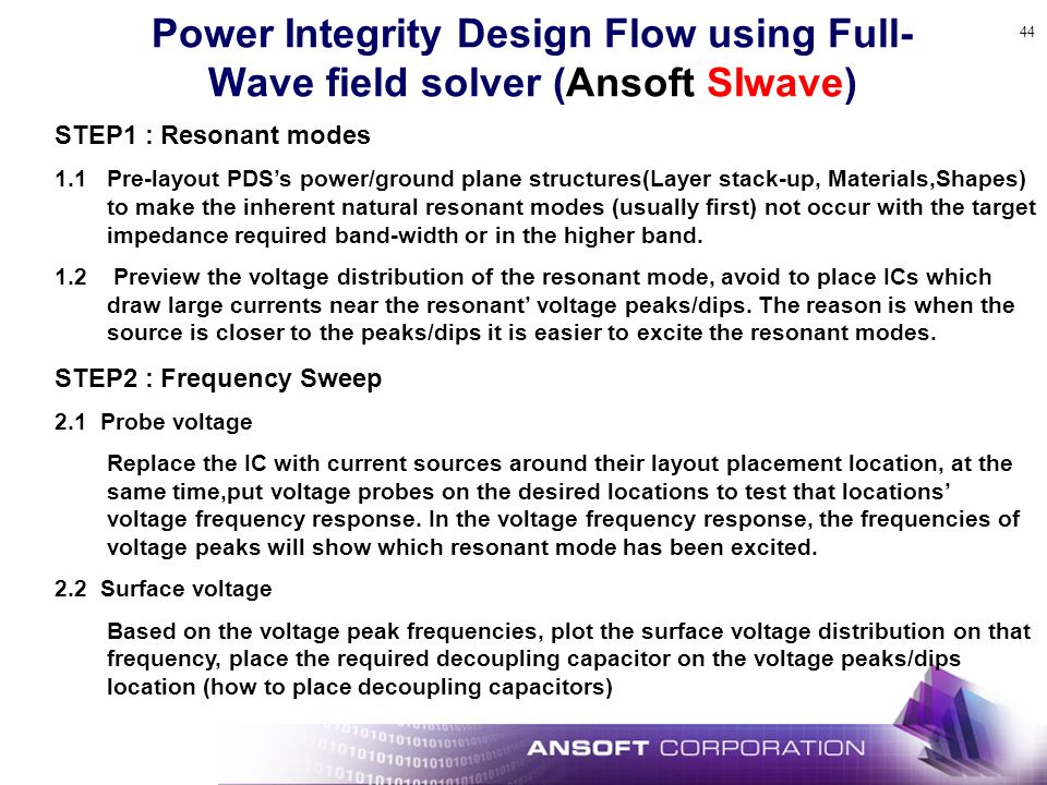 Power Integrity Design Flow using Full-Wave field solver (Ansoft SIwave)