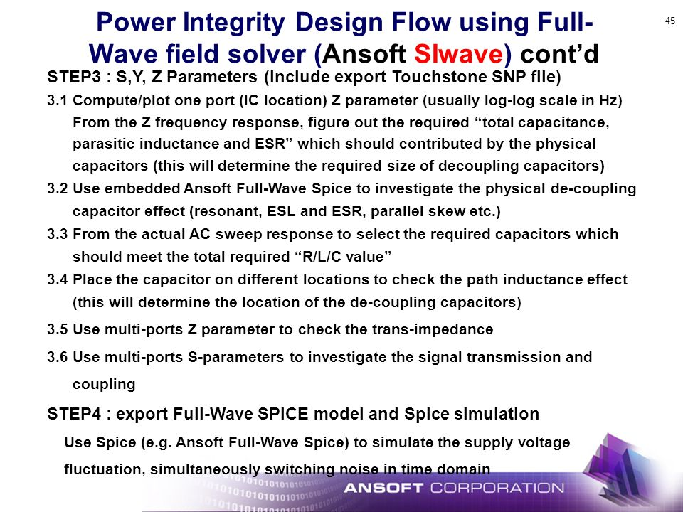 Power Integrity Design Flow using Full-Wave field solver (Ansoft SIwave) cont'd